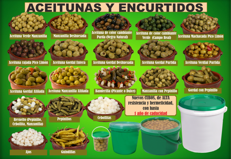 ACEITUNAS Y ENCURTIDOS EN CUBOS